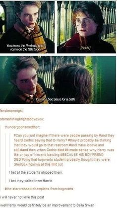 """Plus Dudley was once bullyingHarry, saying """"Who's Cedric? ...Is he your boyfriend?""""<==== well"""