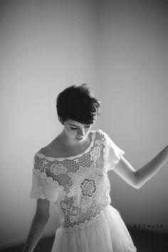 pixie cut white dress