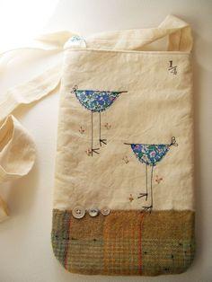 Handmade cross body bag...Liberty Tana Lawn birdies Free shipping. $48.00, via Etsy.