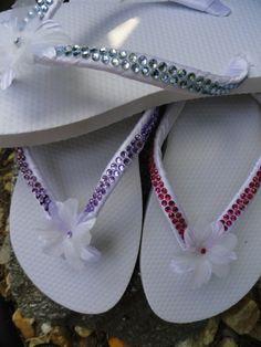 "Colored Rhinestone White Flower Girl Flip Flops ""Jewel"" Flip Flops for Bridesmaids."
