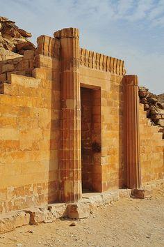 Entrance of House of the South Djoser step pyramid at Saqqara, Egypt