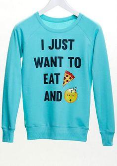 i just want to eat pizza and sleep emoji sweatshirt - Graphic Tees - dELiA*s