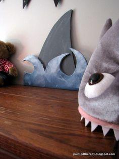 "Wooden Shark Mouth Table Decor Beach Ocean New 12"" Distressed Metal Teeth"