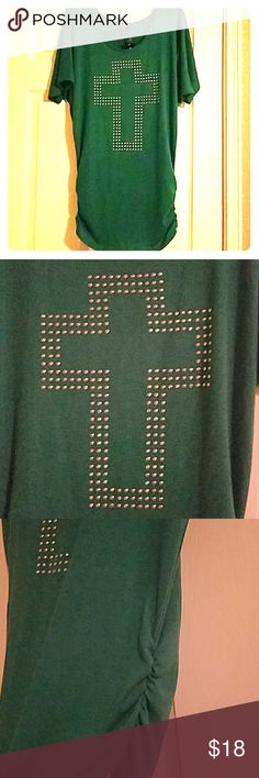 Delirious Los Angeles Tunic Delirious Los Angeles green tunic with silver stud cross and ruched side seam. 👕NWT👕  Great with leggings and boots or skinnies and heels. Perfect for fall! Delirious Los Angeles Tops