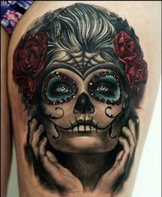 _ day of the dead thigh tattoo _