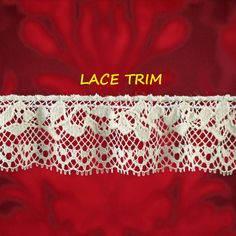 2 YARDS, CREAM Ruffle Lace Sewing Trim, Machine Crochet, Straight Edge, Netting, Leaves Vines, 1 Inch Wide, L321 by DartingDogCrafts on Etsy