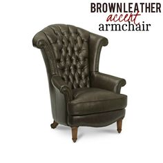 This stunning wing chair exudes an exquisite appeal with its stately high-shaped back, hand tufted back, nailhead trim and brown leather upholstery combined together. Now you can add a traditional accent to your space without sacrificing comfort and style.