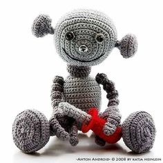 Pattern for sale on Etsy; crochet; amigurumi; robot  ~~