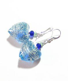 Murano Glass Aqua Blue Silver Heart Chunky  Earrings by JKCJewels