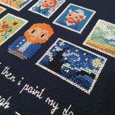 """~ Pin on xxx stitch, embroidery and hoopla ~ 🌠 """"I have … a terrible need … shall I say the word? … of religion. Then I go out at night and paint the stars. Embroidery Works, Diy Embroidery, Cross Stitch Embroidery, Embroidery Patterns, Cross Stitch Bookmarks, Mini Cross Stitch, Beaded Cross, Crochet Cross, Funny Cross Stitch Patterns"""