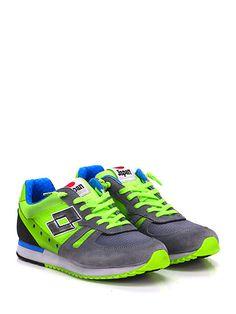 LOTTO LEGGENDA - Sneakers - Uomo - Sneaker in camoscio, pelle e tessuto con suola in gomma. Tacco 30, platform 15 con battuta 15. - GRIGIO\VERDE