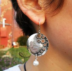 Porans Handcrafted Sterling Silver Earrings Pearl Unique by Porans, $69.00