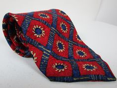 Ermenegildo Zegna 100% Silk Neck Tie Red Blue And Beige New Italy 58 x 3.75 #ErmenegildoZegna #Tie