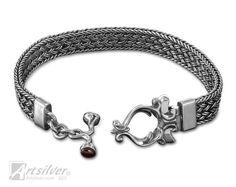Hand Woven Bracelet. Flexible Handmade Solid Sterling Silver Bracelet - KS078s