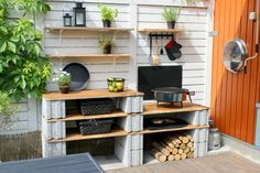 Experiment with different materials to achieve an informal outdoor kitchen. Pergola Patio, Pergola Plans, Pergola Kits, Outdoor Rooms, Outdoor Gardens, Outdoor Living, Outdoor Decor, Backyard Projects, Outdoor Projects