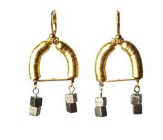 handmade brass + pyrite earrings
