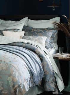 Italian Floral Bedding in Steel and Peacock - Sferra Cora. Peacock and Steel colors Luxury Sheets, Floral Bedding, Luxury Bedding Collections, Stylish Home Decor, Fine Linens, Queen, Table Linens, Home Textile, Bedding Sets
