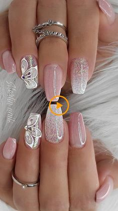Really Cute Glitter Nail Designs! You Will Love This Part glitter nail a… Really Cute Glitter Nail Designs! You Will Love This Part glitter nail art; Bright Nail Designs, Classy Nail Designs, Pretty Nail Designs, Pretty Nail Art, Acrylic Nail Designs, Nail Art Designs, Shellac Nail Designs, Flower Nail Designs, Long Nail Designs