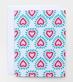 """""""Corazon"""" Red and Pink Heart Patterned Card by Happy Cactus Designs"""