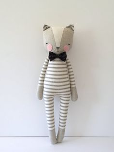 luckyjuju kitty boy cat lovie doll by luckyjuju on Etsy made accessories for boys Your place to buy and sell all things handmade Sewing Toys, Sewing Crafts, Sewing Projects, Sock Dolls, Doll Toys, Fabric Toys, Paper Toys, Little Girl Toys, Softie Pattern