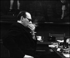 Alexander Alekhine during the World Chess Championship against Euwe. Netherlands, 1935.  (Photographer?)