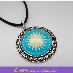Mandala Anhänger Sonne Medaillon 35 mm Kette von KIMAMAdesign