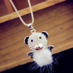 Fashion Rhinestoned Little Bear Pendant Alloy Sweater Chain Necklace For Women