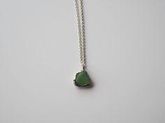 Green Sea Glass Pendant. Genuine English Sea Glass Jewellery. Green Sea Glass and Silver Necklace.  Unique Glass Necklace. by TheGlassHerbarium on Etsy