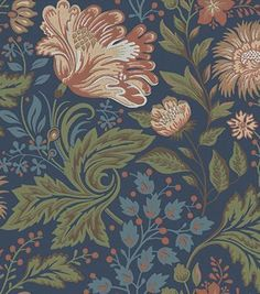 Ava - Dark Blue wallpaper, from the Brunnsnas collection by Sandberg Dark Blue Wallpaper, More Wallpaper, Blue Wallpapers, Bedroom Wallpaper, Wall Wallpaper, Wallpaper Quotes, Gaston Y Daniela, Dark Blue Flowers, Made To Measure Curtains