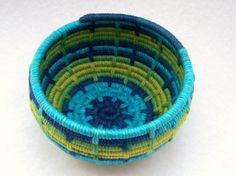 Reserved for Melanie-Yarn Coiled Basket Storage Basket Aqua