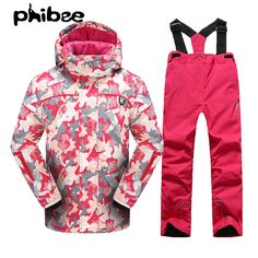 c19bd0ce03 Phibee Winter Girls or Boys Waterproof Ski Jacket Snow Pants Thick Warm  Snowboard Windproof Breathable Degree