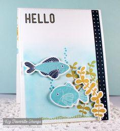 card sea creatures fish MFT Sea Life Die-namics #mftstamps Hello Fishy seaside ocean water sea creatures plants