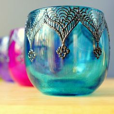 Moroccan hand decorated glass candle holders