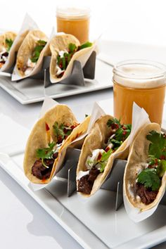 Thai-style local skirt steak tacos with cilantro, onion, sour cream,  paired with Phoebe's Fall Pilsner.  #fingerfood #shopfesta
