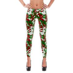 It's not camouflage – it's SANTAFLAGE!  Ladies... these festive leggings are the perfect pairing for this season's ugly holiday sweater.  • Spill eggnog all over and nobody will know • 82% polyester / 18% spandex / 100% awesome • Four-way stretch microfiber yarn • Elastic waistband • Cut, sewn, and printed in the USA!