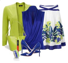 A fashion look from June 2014 featuring no sleeve shirt, monsoon skirts and lime green shrug. Browse and shop related looks. Classy Outfits, Stylish Outfits, Beautiful Outfits, Look Fashion, Fashion Outfits, Womens Fashion, Fashion Trends, Looks Style, My Style