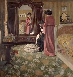 Félix Vallotton  - Lady in the bedroom with a maid mending the dress (1904)