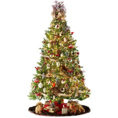 6.5' Pre-Lit Balsam Fir Christmas Tree ($140) ❤ liked on Polyvore featuring home, home decor, holiday decorations, holiday home decor, holiday decor and colorful home decor