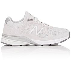 New Balance Women's 990v4 Suede Sneakers ($175) ❤ liked on Polyvore featuring shoes, sneakers, low profile sneakers, perforated suede sneakers, suede shoes, lace up sneakers and suede low top sneakers