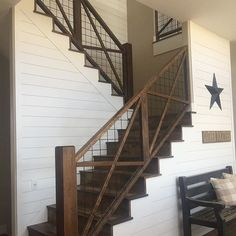 Farmhouse Stairs Stairways Living Rooms 25 Ideas For 2019 Indoor Railing, Diy Stair Railing, Loft Railing, Interior Stair Railing, Staircase Railings, Banisters, Stairways, Rustic Staircase, Modern Staircase
