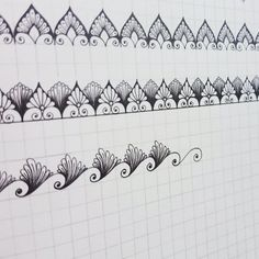 Zen Doodle Patterns, Doodle Borders, Mandala Pattern, Zentangle Patterns, Mandala Design, Dibujos Zentangle Art, Zentangle Drawings, Doodle Drawings, Doodle Art