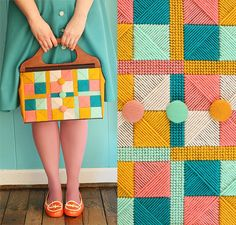 This plastic canvas clutch is gorgeous--perfect colors!