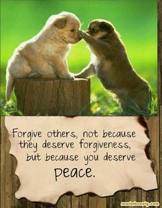 Forgiveness brings peace...for you.