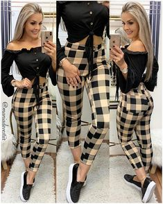 Image may contain: 2 people, people standing Teen Fashion Outfits, Classy Outfits, Look Fashion, Fashion Pants, Sexy Outfits, Stylish Outfits, Fall Outfits, Fashion Dresses, Womens Fashion