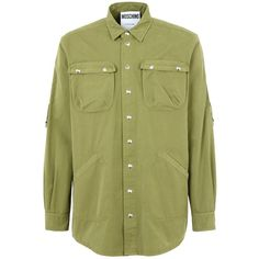 Moschino Long Sleeve Shirt (10,960 EGP) ❤ liked on Polyvore featuring men's fashion, men's clothing, men's shirts, men's casual shirts, military green, mens cotton shirts, mens embroidered shirts, mens long sleeve casual shirts and mens long sleeve shirts