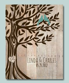 Personalized Wedding Gift Love Birds Tree Engagement by WordOfLove, $14.00