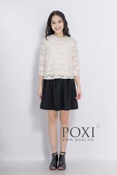 Chân váy thun đen họa tiết hoa nổi V19814