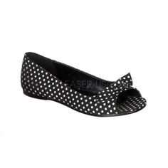 Rockabilly Shoes: Black White Dots Bow Rockabilly Style Shoes - should be heels, but can't wear 'em!