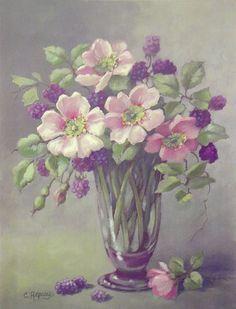 Pink Wild Roses w/Berries-
