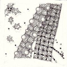 Ein Zentangle aus den Mustern Calix, Lollywimple, Xmas-red, gezeichnet von Ela Rieger, CZT